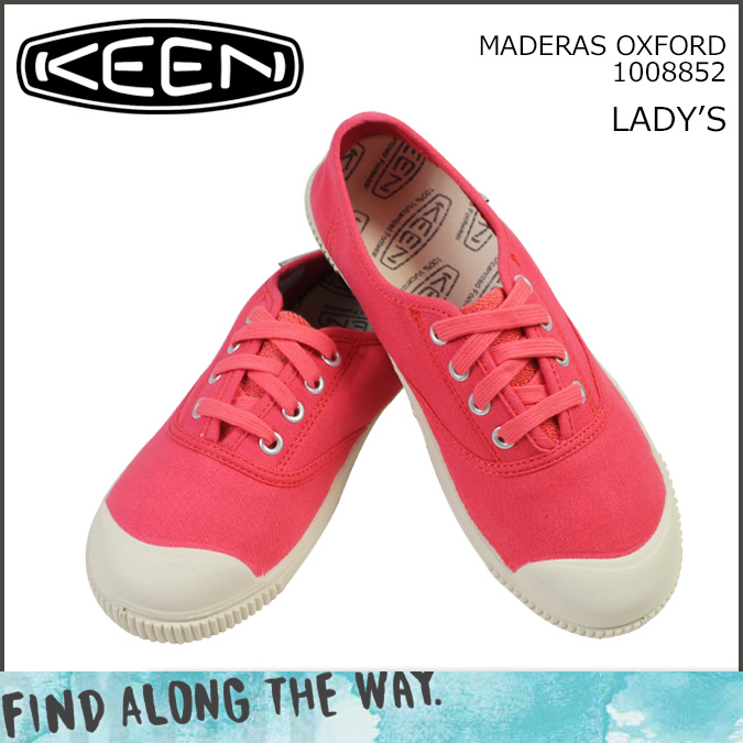 KEEN keen women's MADERAS OXFORD sneaker Madras Oxford canvas pink 1008852 [regular]