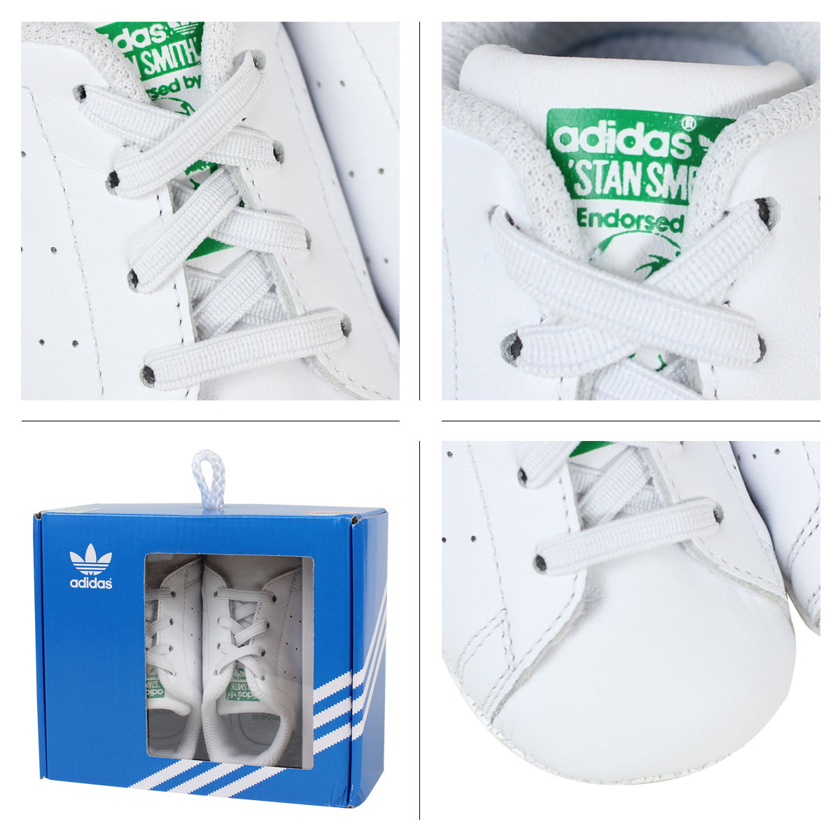 on sale 0f324 fe04e adidas Originals STAN SMITH CRIB Stan Smith kids baby Adidas originals  sneakers shoes B24101 white [192]