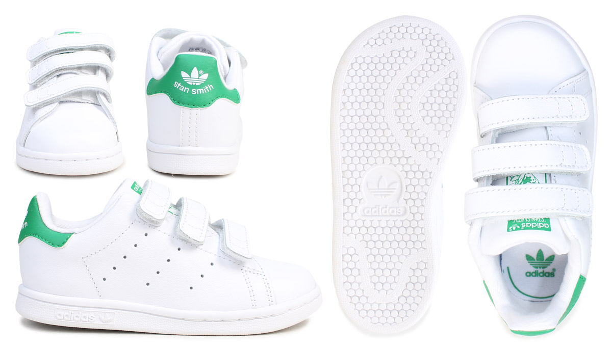 online retailer 81b81 8dc51 adidas originals Stan Smith Velcro kids baby Adidas sneakers STAN SMITH CF  I BZ0520 shoes white green  7 14 Shinnyu load   177