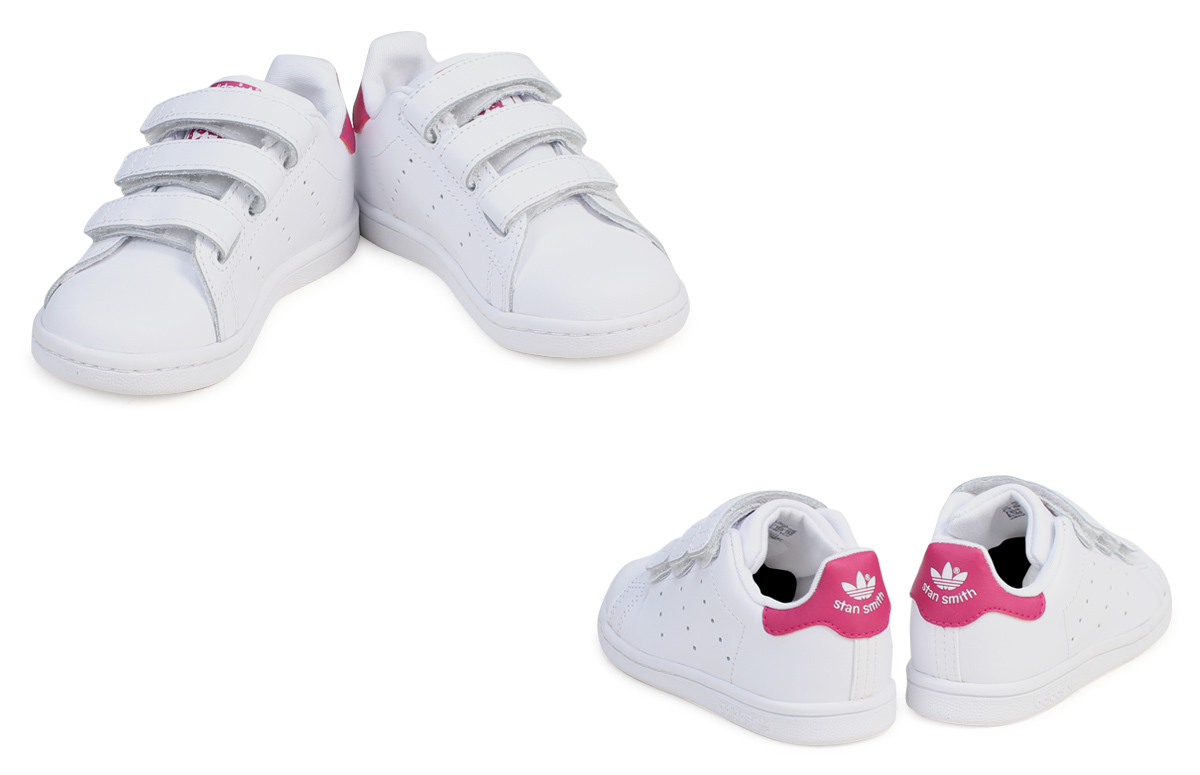 official photos 4deb8 fc8e5 adidas originals Stan Smith Velcro kids baby Adidas sneakers STAN SMITH CF  I BZ0523 shoes white pink  7 14 Shinnyu load   177