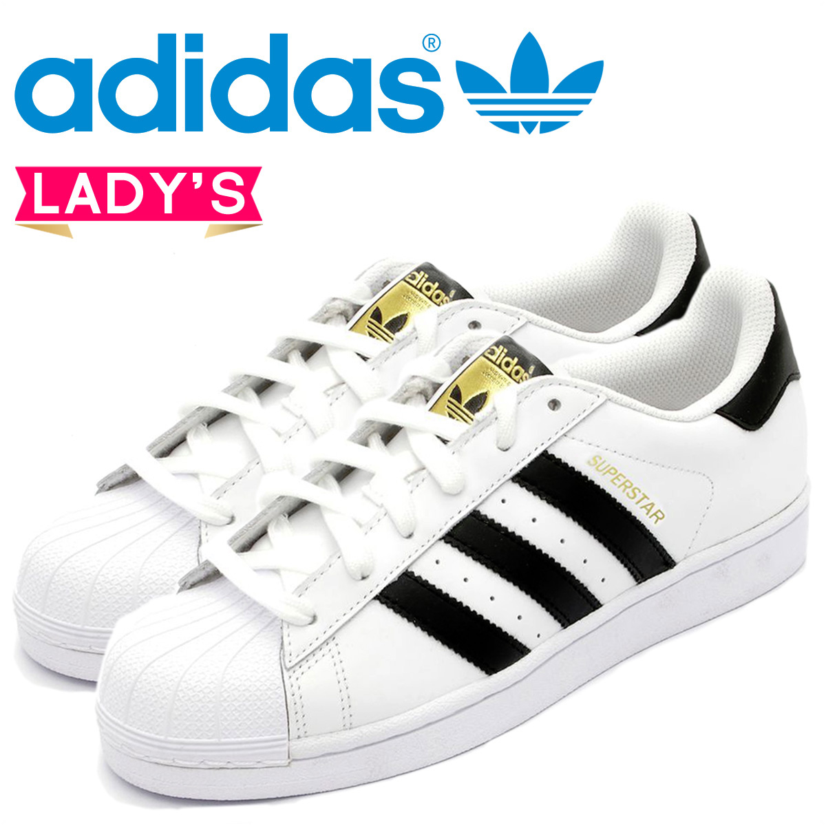 ... 11 around stock» points 2 x adidas originals adidas Originals ladies  SUPERSTAR J sneakers superstar J girls leather kids Jr child C77154 white  black [7 ...