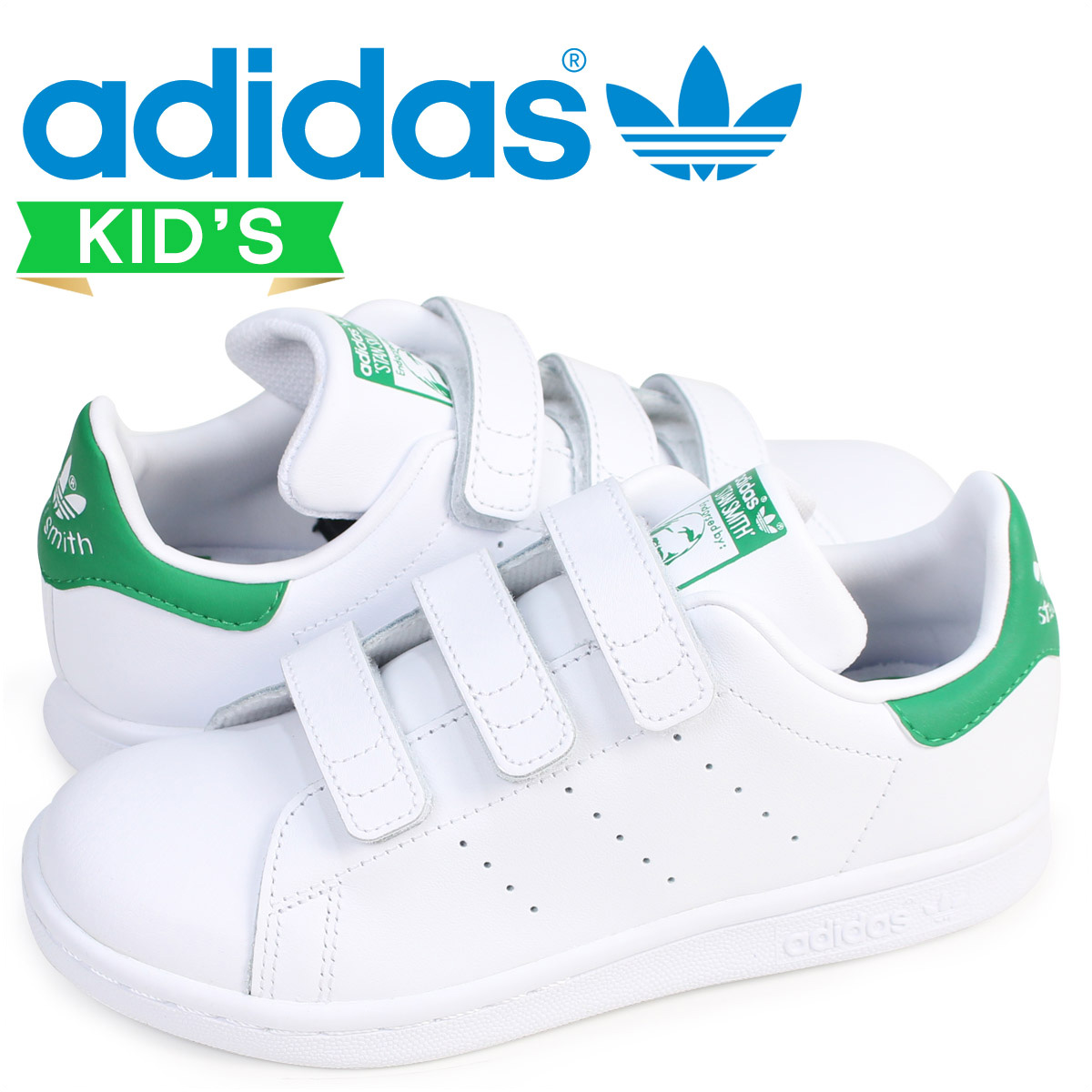 adidas Originals STAN SMITH CF C Adidas originals Stan Smith Velcro  sneakers kids white white M20607