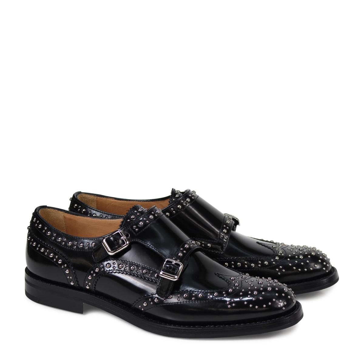 Churchs LANA MET チャーチ 靴 レディース ダブルモンク シューズ スタッズ ブラック DO0002