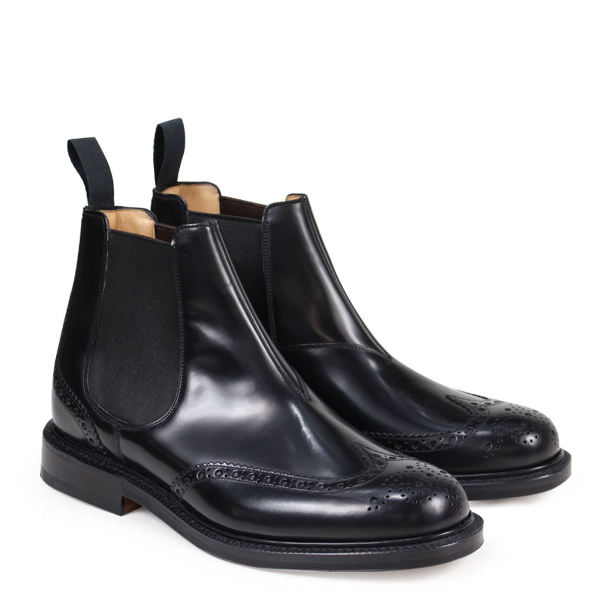 【送料無料】 【あす楽対応】 【25.5cm-28cm】 チャーチ Churchs ケッツビー KETSBY ブーツ Churchs KETSBY CHELSEA BOOTS チャーチ 靴 ブーツ サイドゴア ショートブーツ ウイングチップ メンズ ブラック ETB001