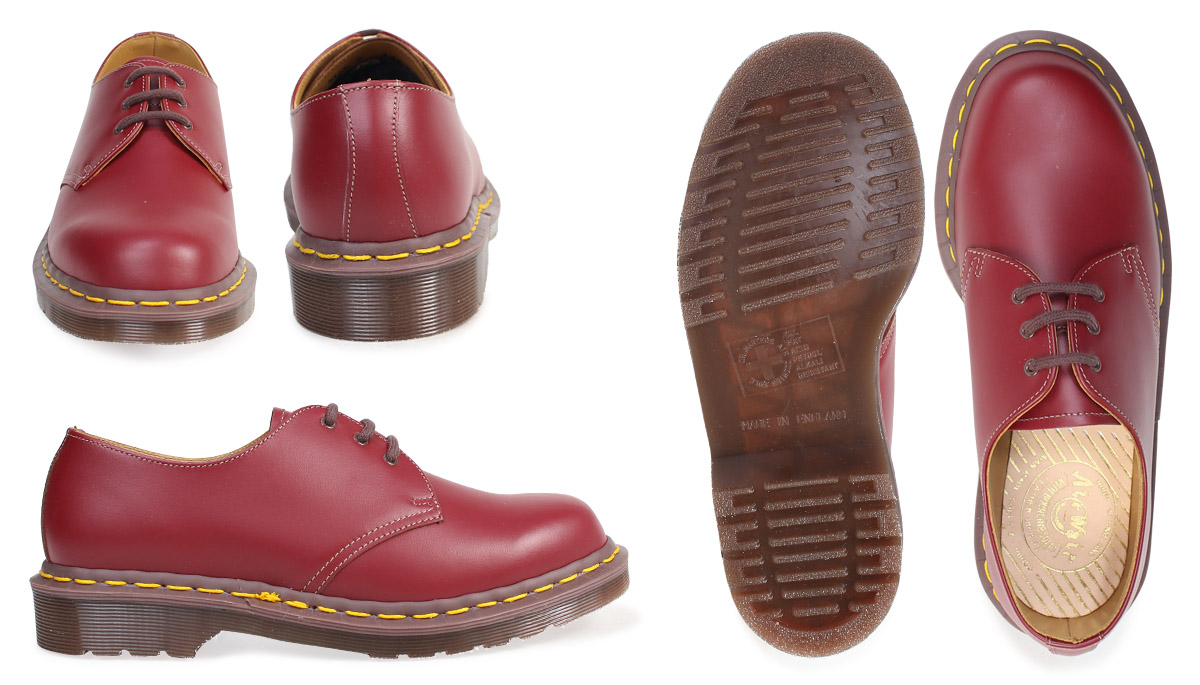 3d87c6842ac2e Dr.Martens 3 hall 1461 men's lady's Oxford shoes doctor Martin VINTAGE 3EYE  SHOE MADE IN ENGLAND R12877601 wine red [176]