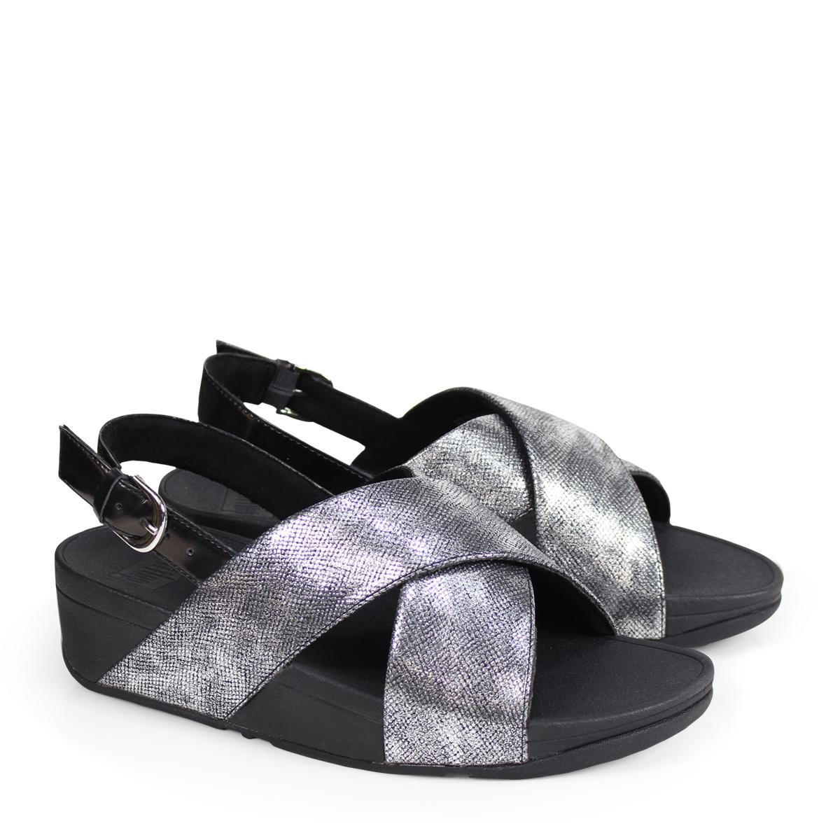 c89393aabfd1f6 FitFlop LULU CROSS BACK-STRAP SANDALS SHIMMER-PRINT sandals fitting FLOP  Lulu Lady s K54 black  4 4 Shinnyu load   184