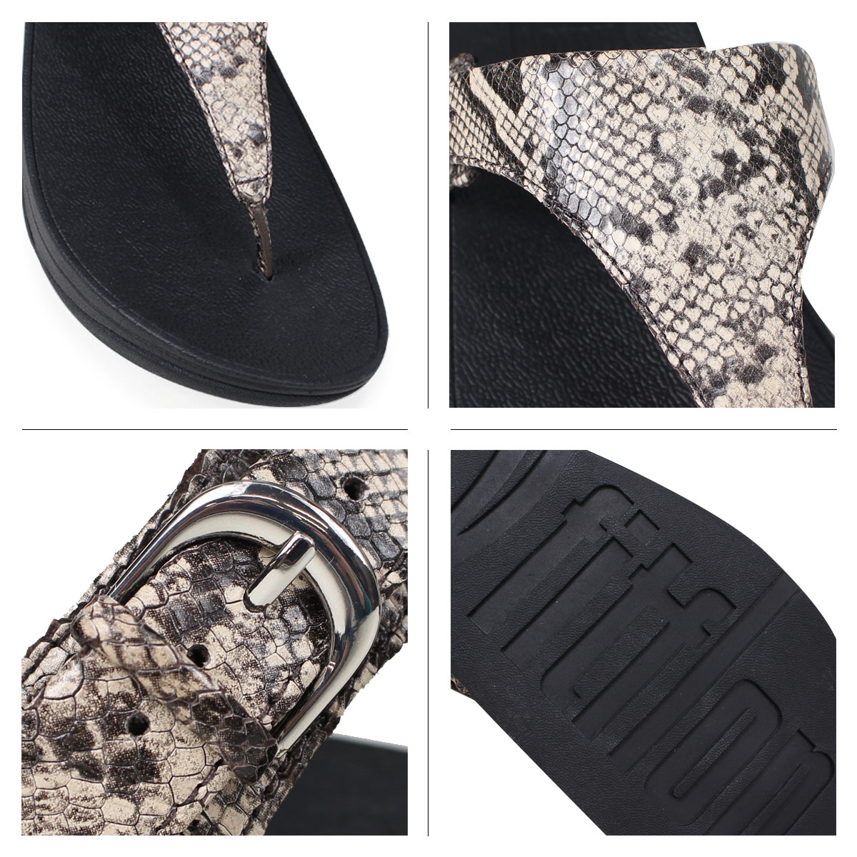 ca989db9db8413 FitFlop SKINNY TOE-THONG SANDALS SNAKE PRINT LEATHER sandals fitting FLOPS  Kinney Lady s L69 black  4 4 Shinnyu load   184