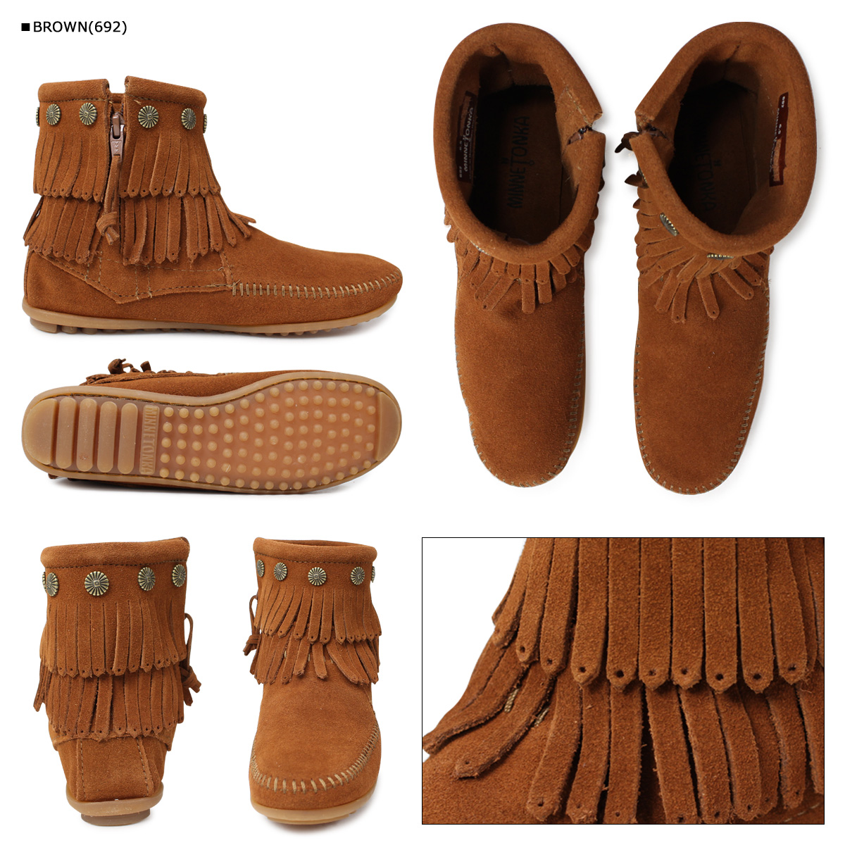 «Booking products» «11 / 6 days will be in stock» Minnetonka MINNETONKA double fringe side DOUBLE FRINGE SIDE ZIP BOOTS suede women's zip boots