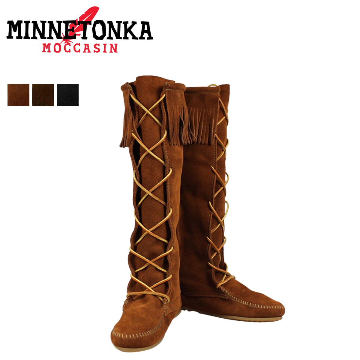 Front Lace Hardsole Knee Hi, Womens Mocassins Boots Minnetonka