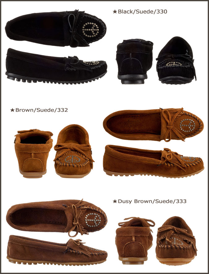 Minnetonka MINNETONKA Kirti mock with peace sign moccasin KILTY MOC WITH PEACE SIGN suede women's suede