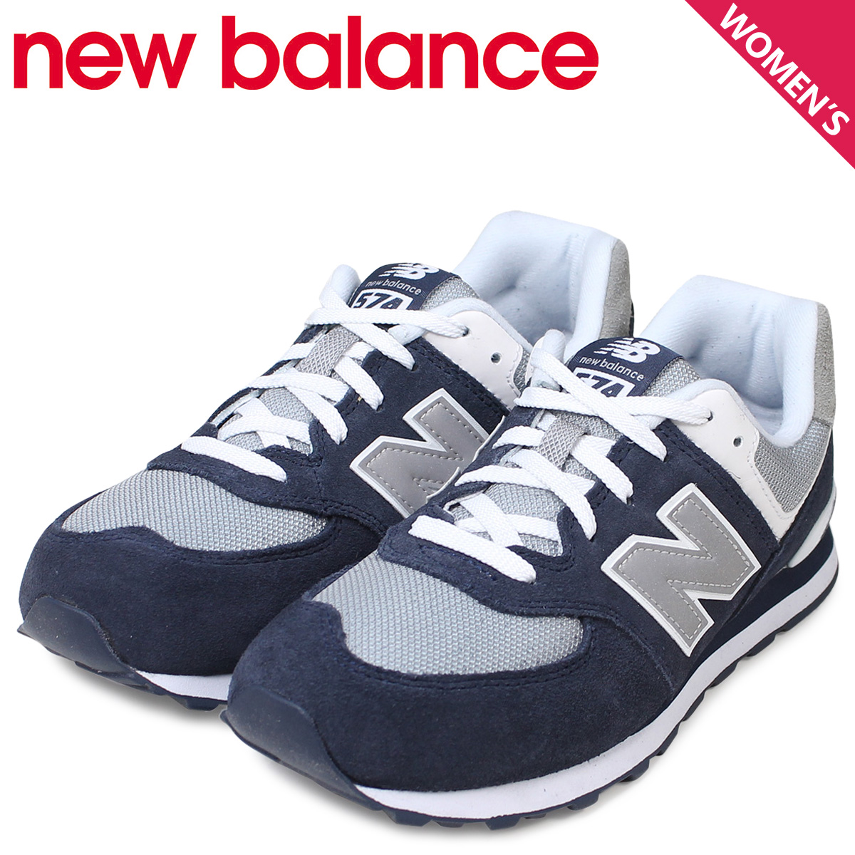 f68f5a85 New balance new balance women's KL574NWG sneaker M wise suede mesh kids '  Junior kids Navy grey white