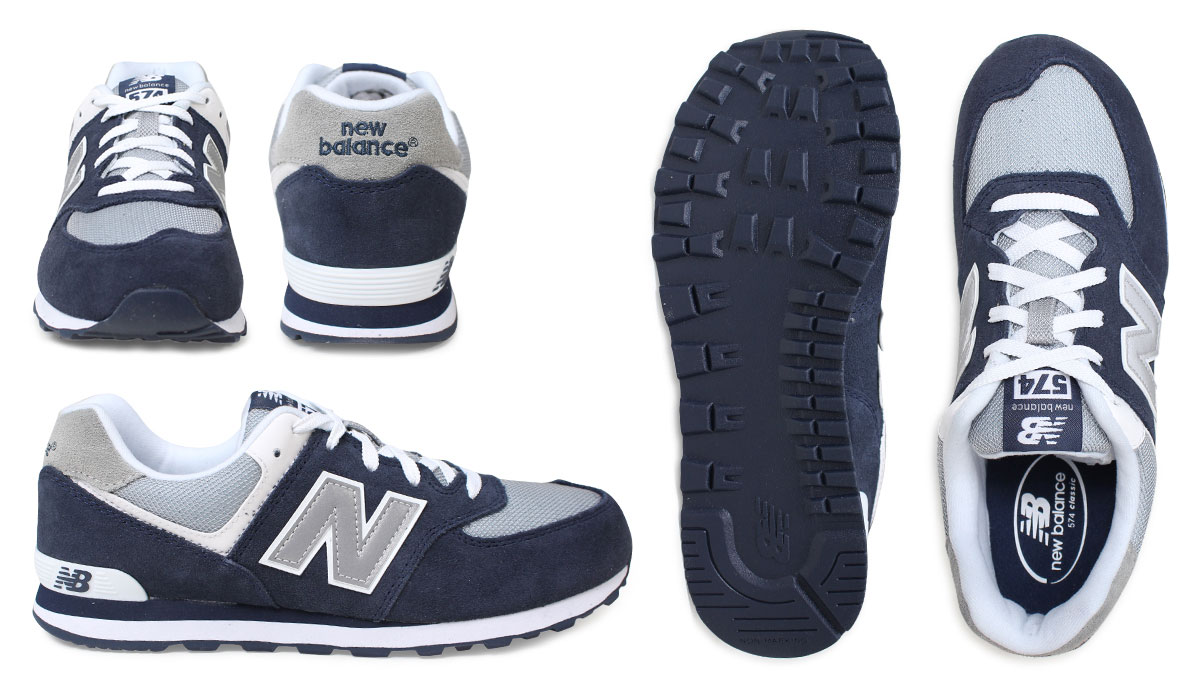 outlet store 38125 7a58e New balance new balance women's KL574NWG sneaker M wise suede mesh kids '  Junior kids Navy grey white