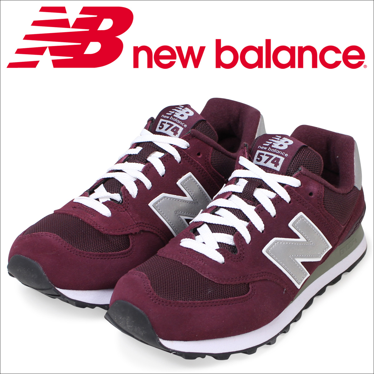 84519b44eacb New Balance 574 men u0027s new balance sneakers M574NBU D Wise shoes  burgundy  1 .