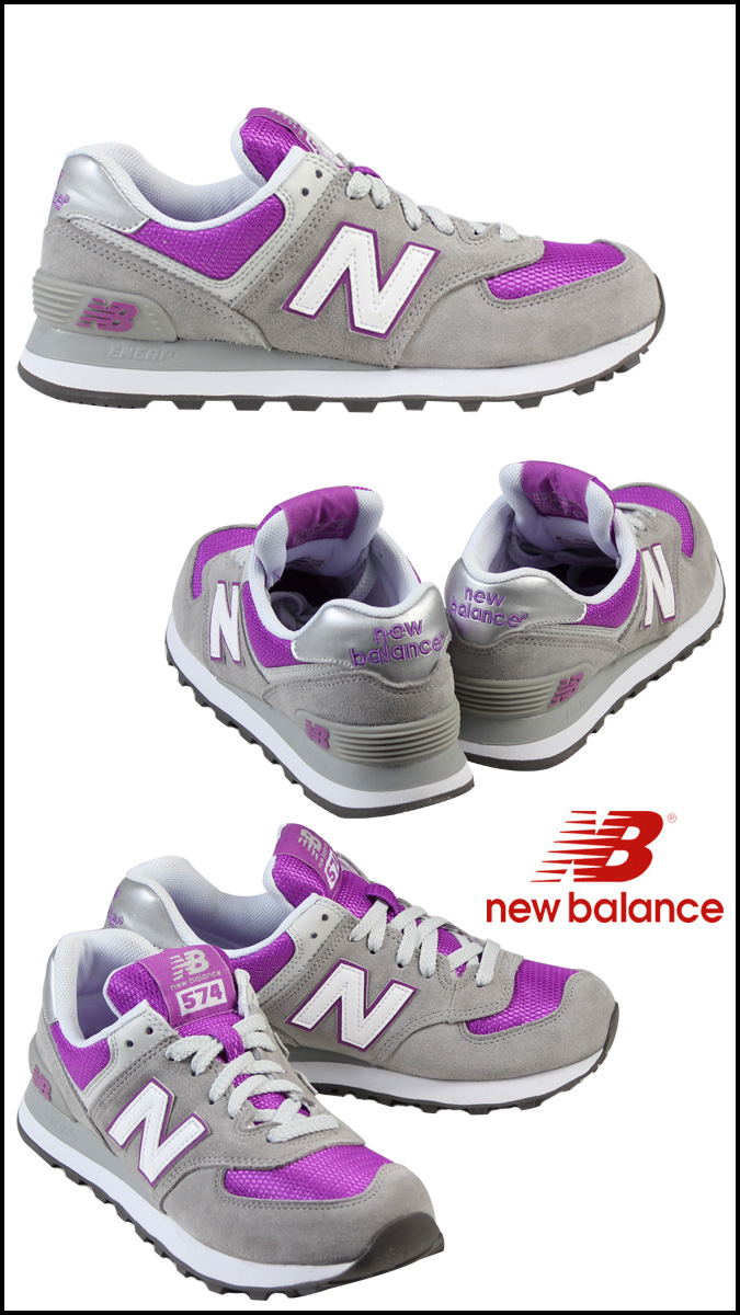 New Balance new balance WL574GPC Lady's men sneakers B Wise suede X mesh suede cloth gray