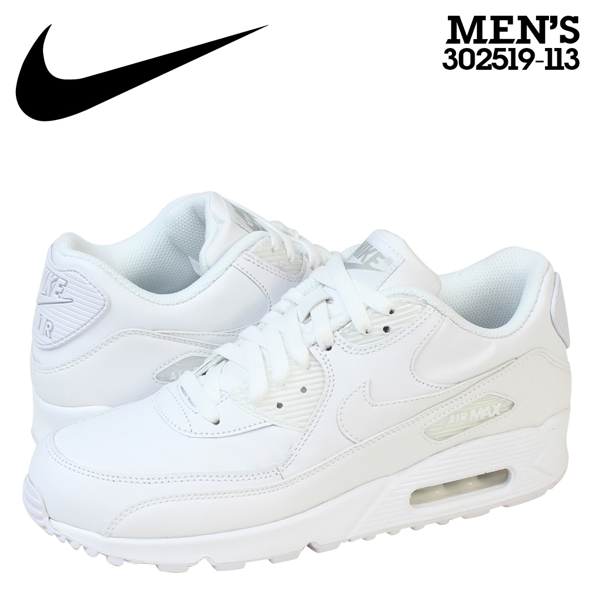 separation shoes 99716 8cf6c Nike NIKE AIR MAX 90 LEATHER sneakers Air Max 90 leather mens 302519-113  WHITE/WHITE white [10 / 25 new in stock] [regular]