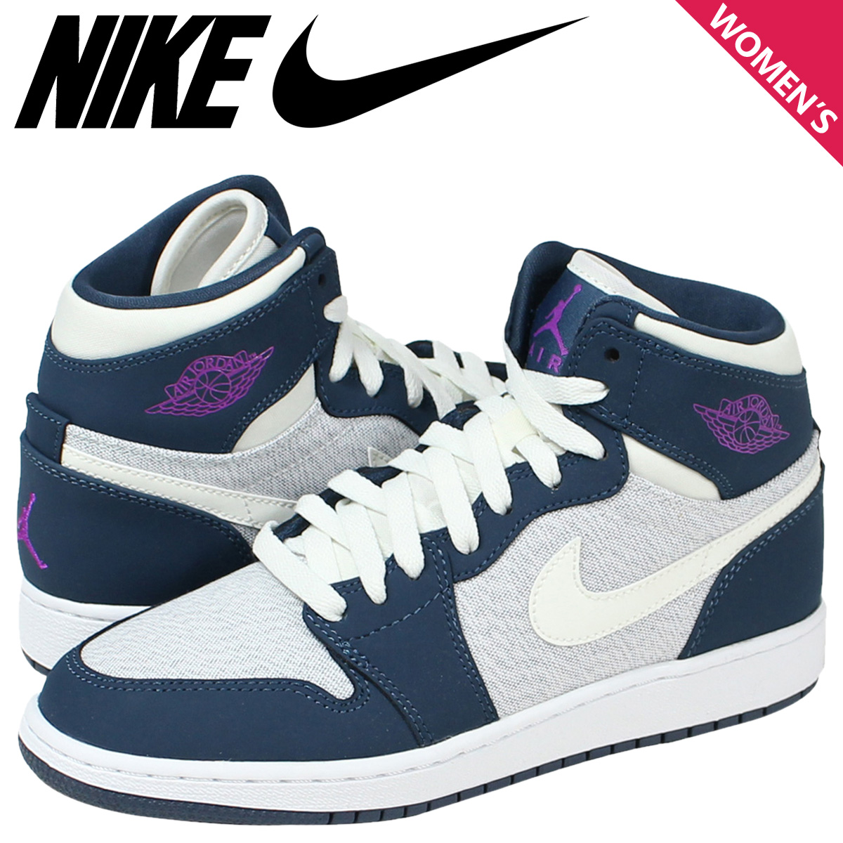 the best attitude c9a66 07c14 [SOLD OUT] Nike NIKE Air Jordan sneakers Womens AIR JORDAN 1 RETRO HI GS  Air Jordan 1 retro Hi 332148-117 shoes Navy
