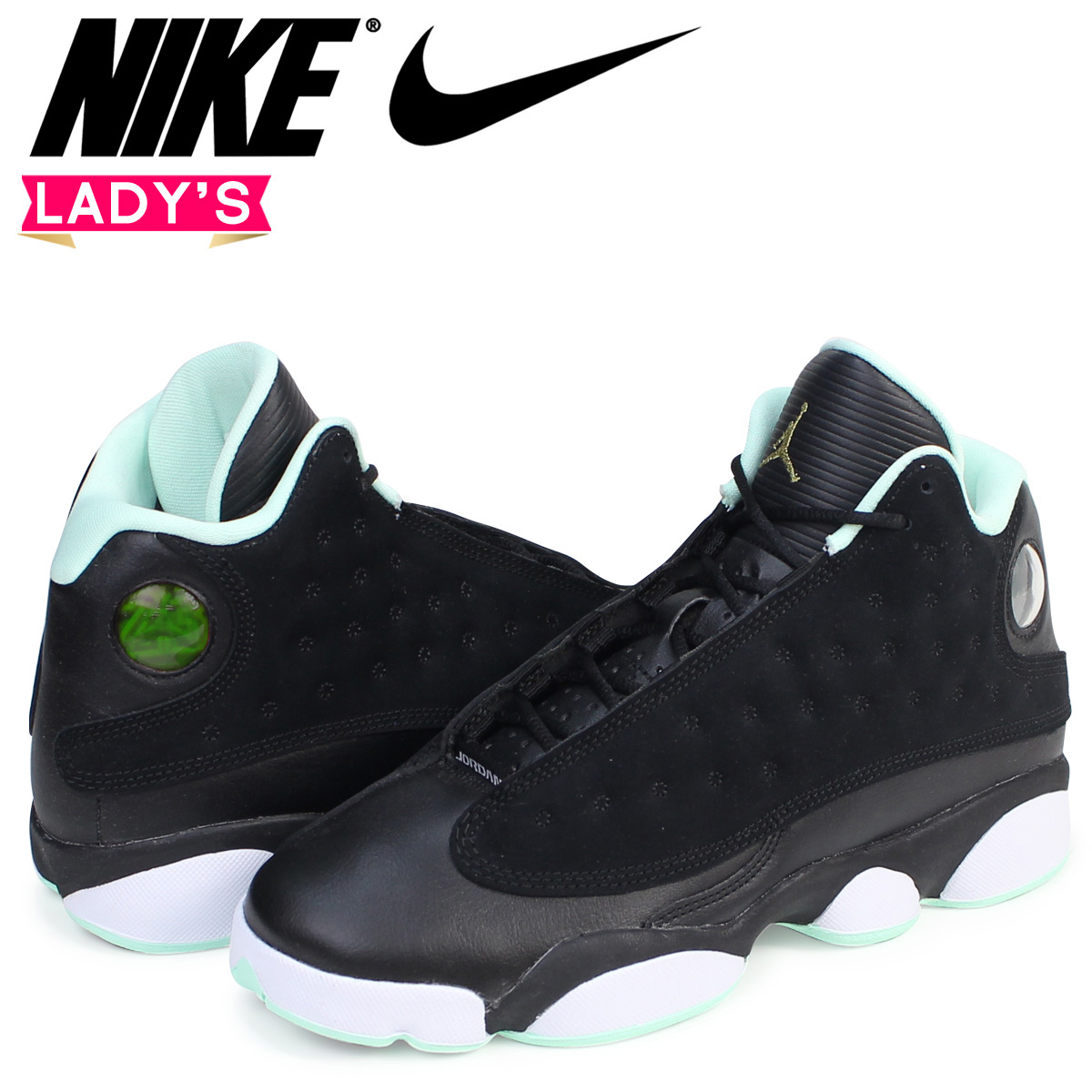 Nike NIKE Air Jordan 13 Nostalgic Ladys Sneakers AIR JORDAN RETRO 439358 015 Shoes Black 7 27 Shinnyu Load 177