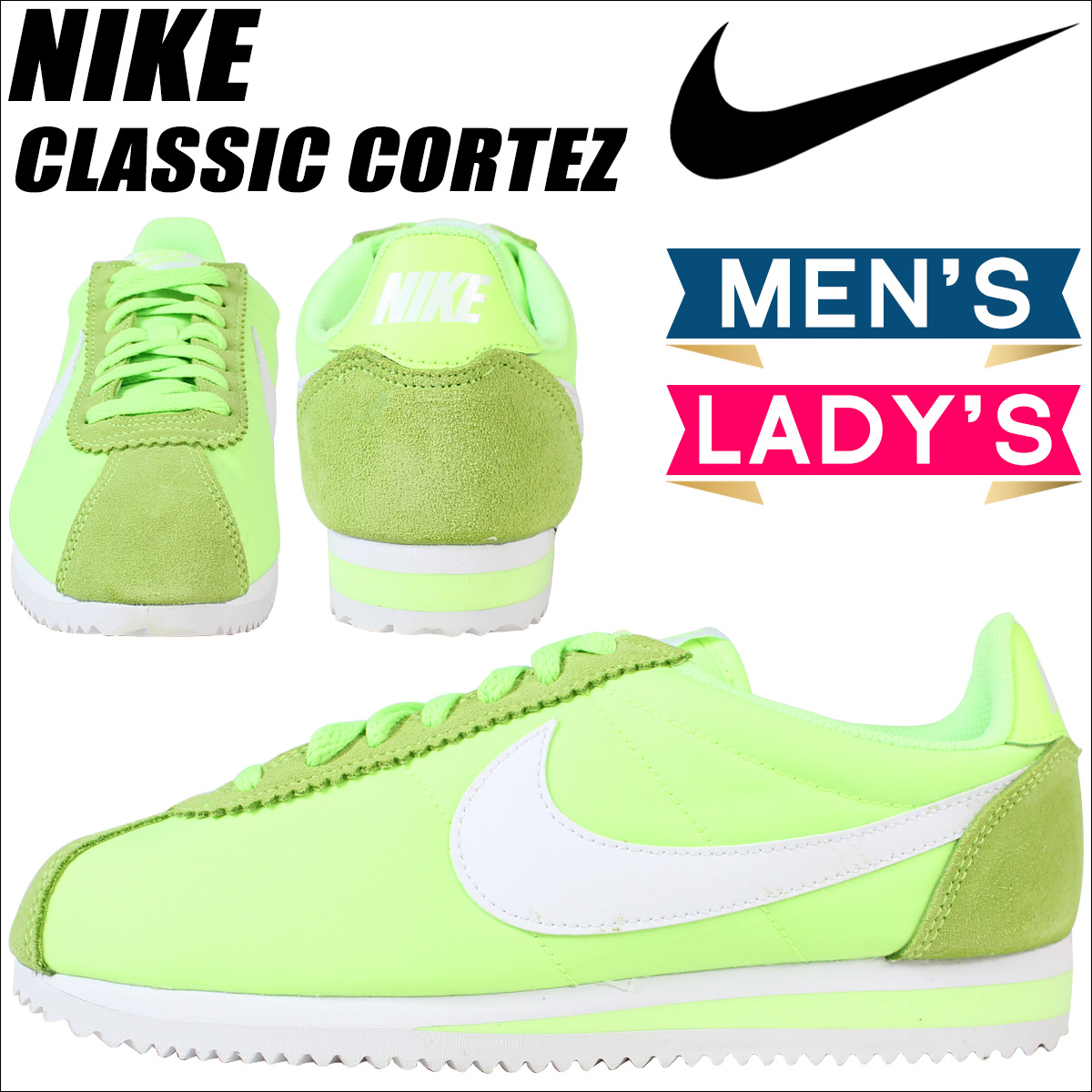 NIKE Nike Cortez sneakers Womens CLASSIC CORTEZ NYLON 749864-310 mens shoes Green