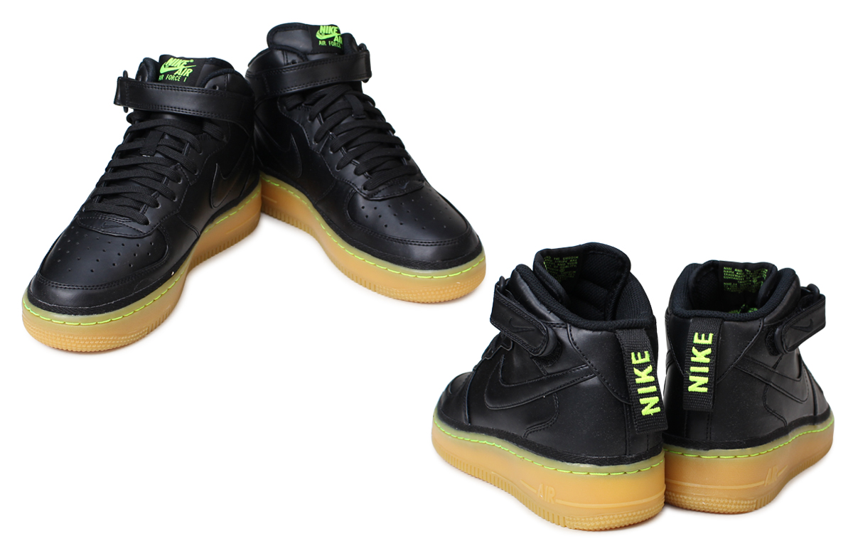 Nike NIKE air force Lady's sneakers AIR FORCE 1 MID LV8 GS air force 820,342 004 shoes black [23 Shinnyu load]