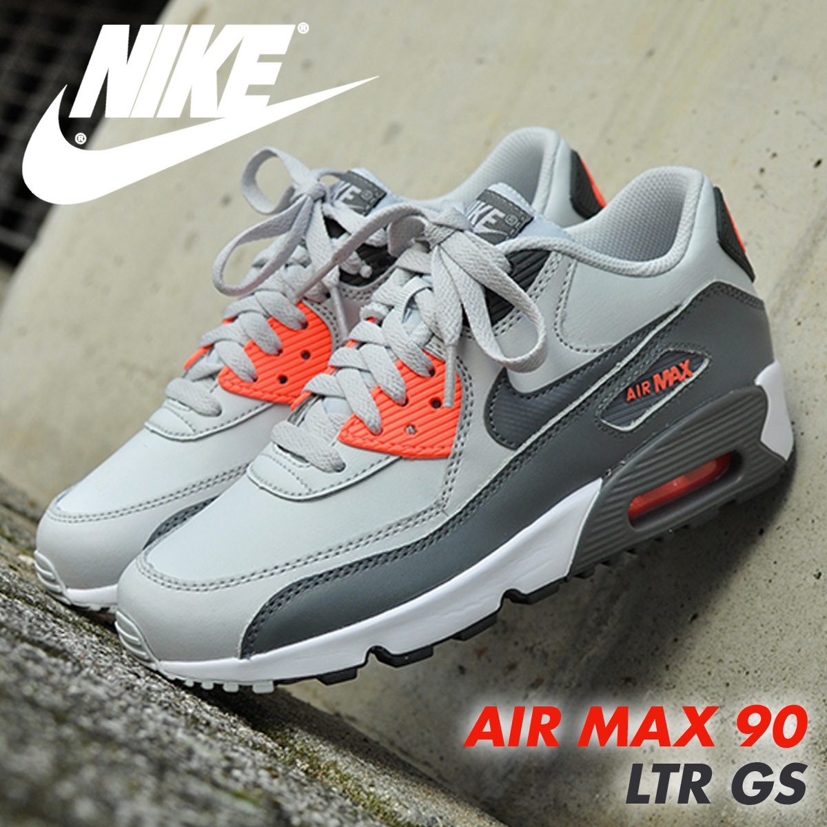 NIKE Kie Ney AMAX 90 Lady's sneakers AIR MAX 90 LTR GS 833,376-006 shoes  white [5/11 Shinnyu load] [175]