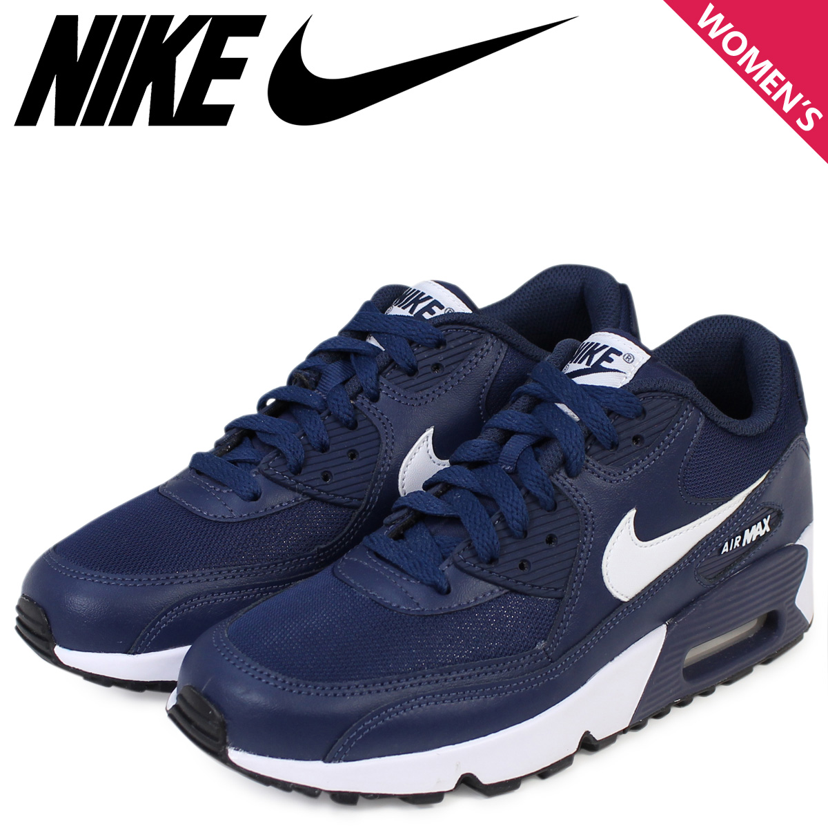 Nike Air Max Womens NIKE sneakers AIR MAX 90 MESH GS Air Max 833418 400 shoes Navy [11 26 new in stock]
