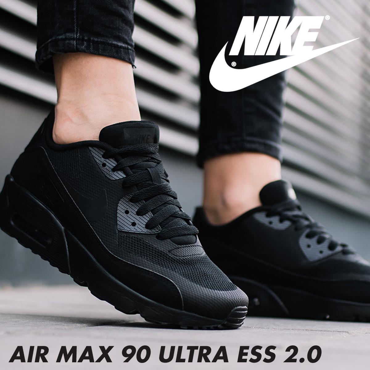 buy online f36b0 9f7f4 NIKE AIR MAX 90 ULTRA ESS 2.0 GS Kie Ney AMAX 90 Lady s sneakers  869,950-001 black  189