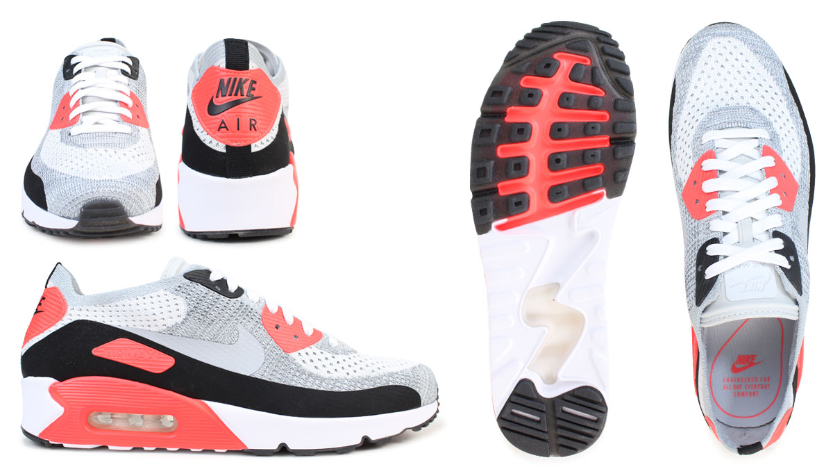 Nike NIKE Air Max 90 ultra men sneakers AIR MAX 90 ULTRA 2.0 FLYKNIT 875,943 100 shoes white [330 Shinnyu load]