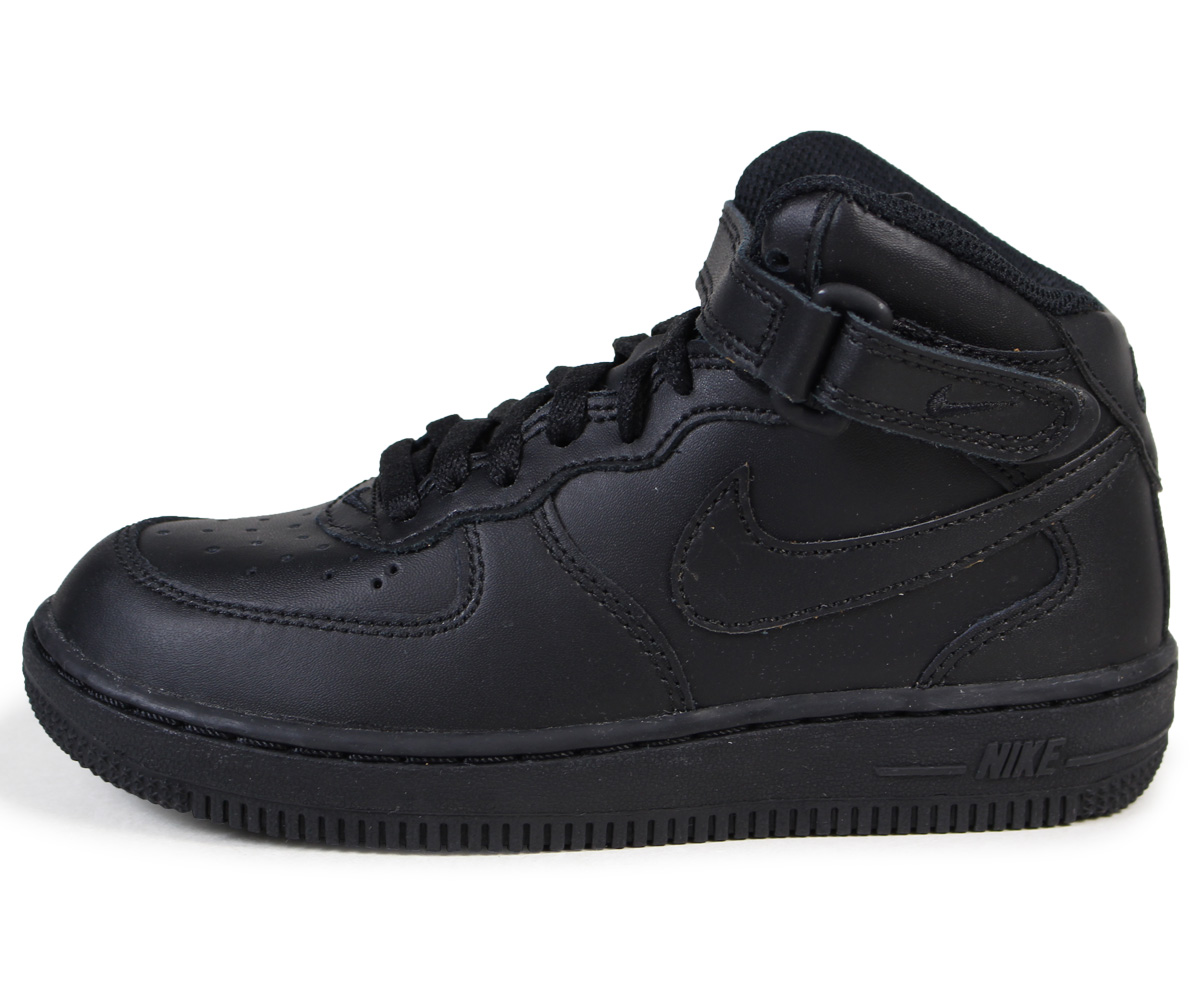 Nike 314196-004 PS Air Force 1 Mid Little Kids Black Sneakers