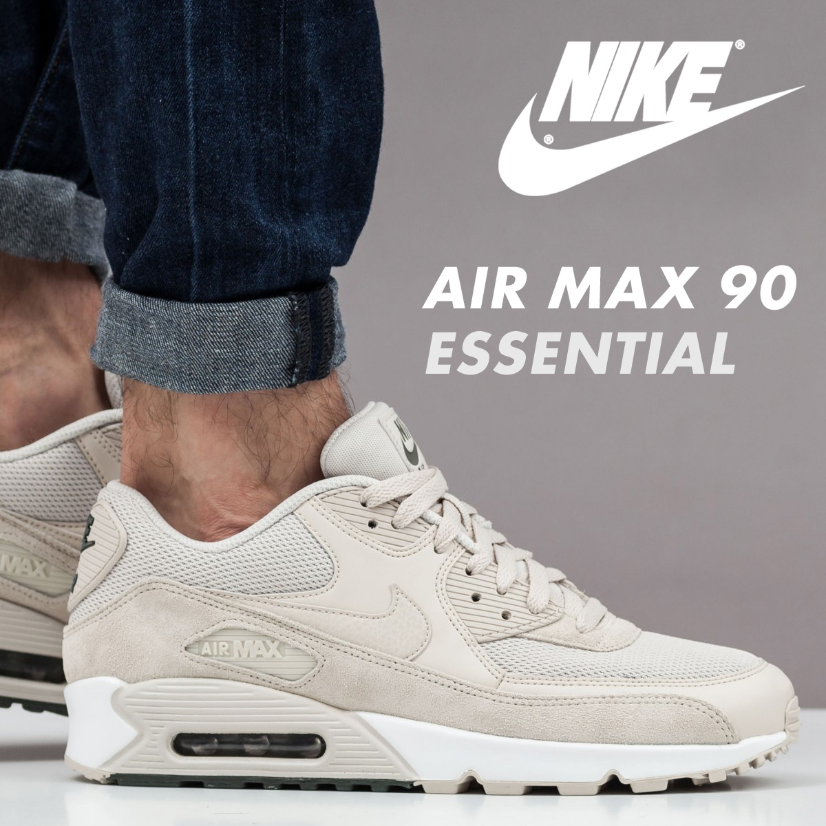 NIKE Kie Ney AMAX 90 essential sneakers AIR MAX 90 ESSENTIAL 537,384 132 men's shoes beige [load planned Shinnyu load in reservation product 824