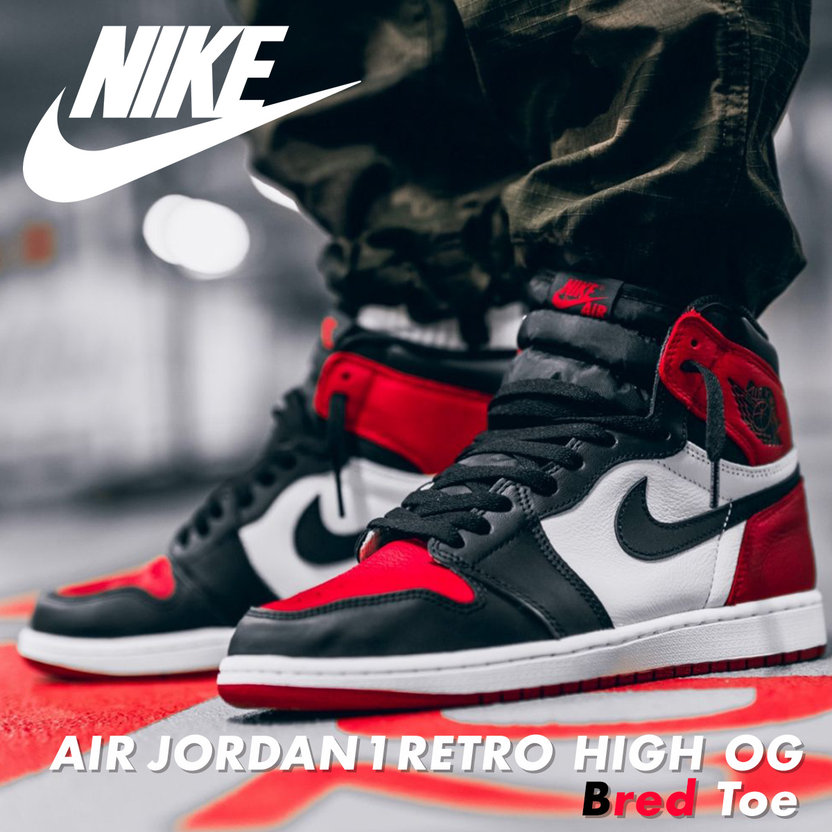 purchase cheap 452cb c3040 NIKE AIR JORDAN 1 RETRO HIGH OG BRED TOE Nike Air Jordan 1 nostalgic high  sneakers men 555,088-610 red [is going to be received reservation product  ...