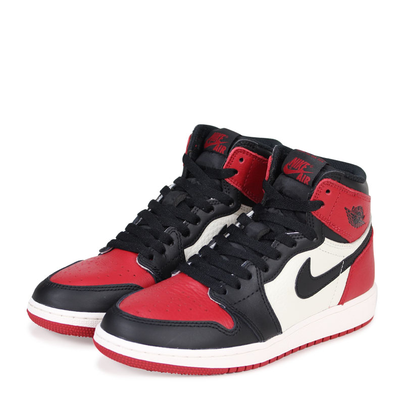 NIKE AIR JORDAN 1 RETRO HIGH OG BG BRED TOE Nike Air Jordan 1 nostalgic  Haile Dis sneakers 575,441-610 red [is going to be received reservation ...