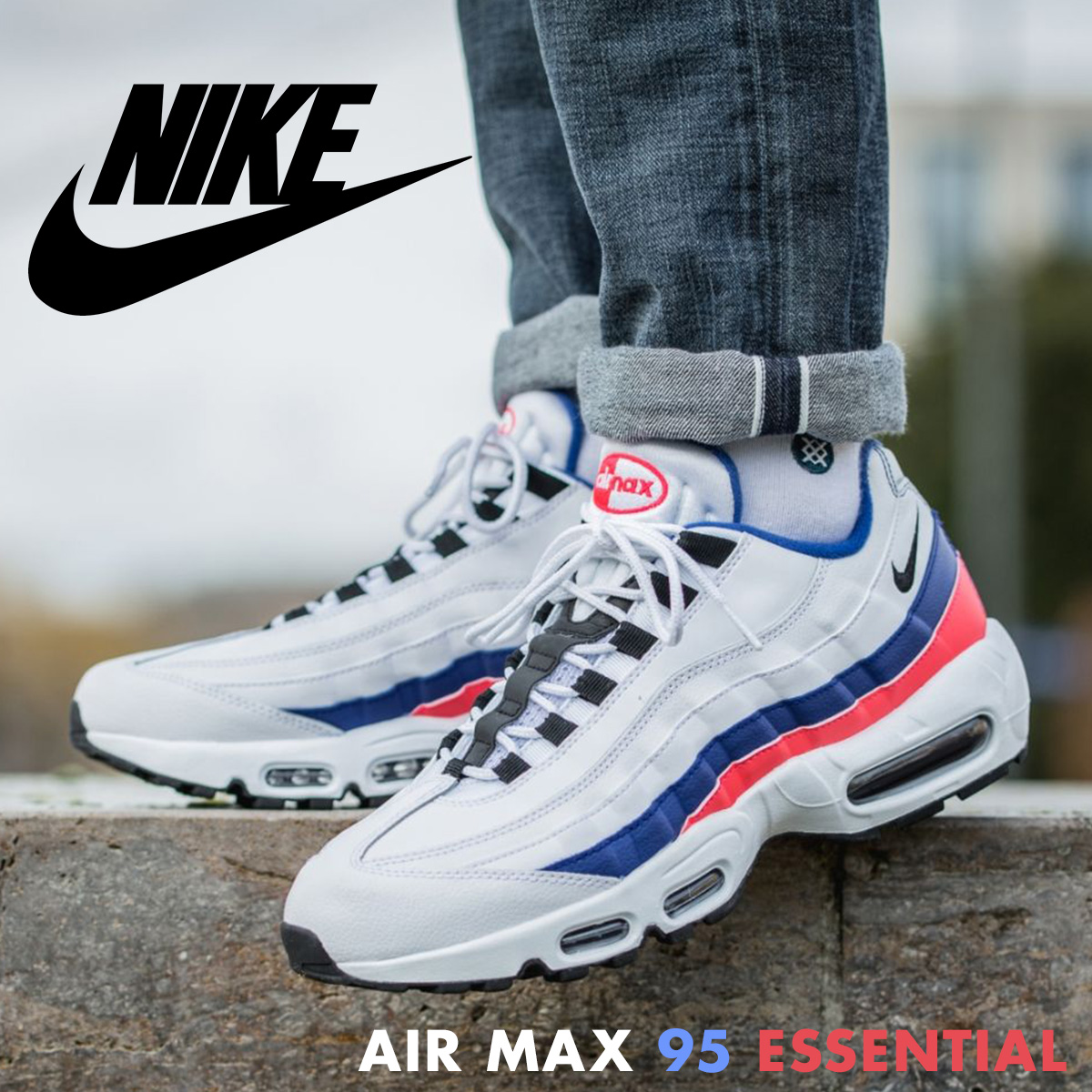 newest 6937c 9e025 ... NIKE AIR MAX 95 ESSENTIAL Kie Ney AMAX 95 essential sneakers men 749,766 -106 white ...