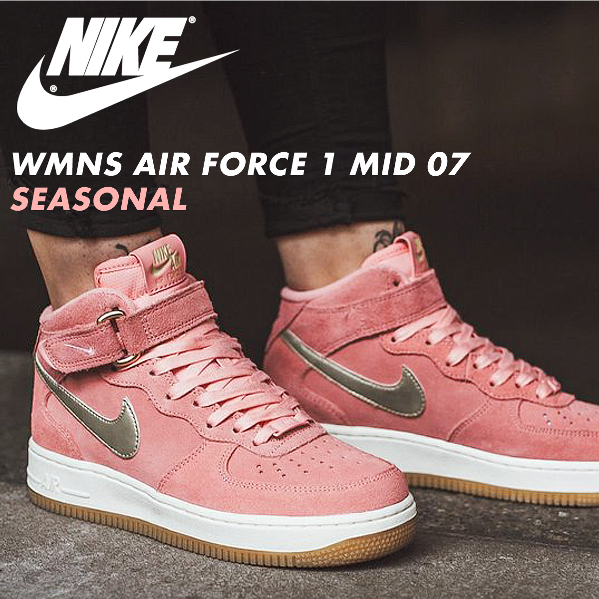 NIKE Nike air force 1 sneakers WMNS AIR FORCE 1 MID 07 SEASONAL 818,596 800 men's lady's shoes pink [89 Shinnyu load] [178]