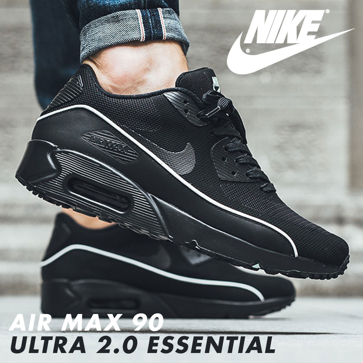 detailing 8dce3 3d7b7 NIKE Kie Ney AMAX 90 essential ultra sneakers AIR MAX 90 ULTRA 2.0 ESSENTIAL  875,695-009 men s shoes black  9 4 Shinnyu load   179