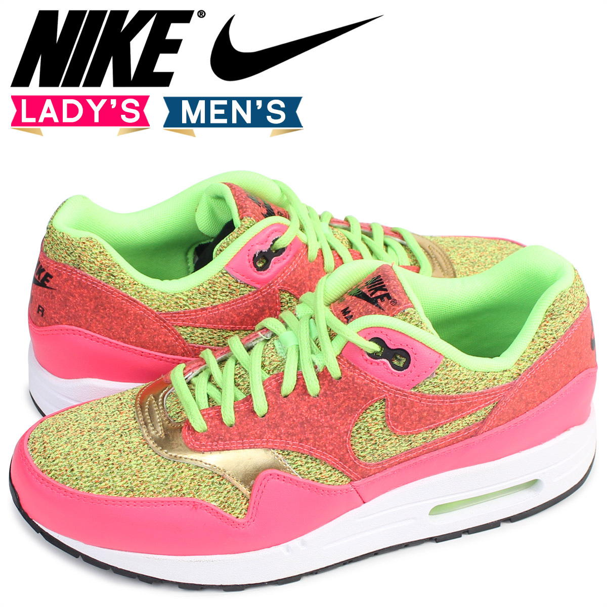 NIKE Kie Ney AMAX 1 Lady's sneakers WMNS AIR MAX 1 SE GHOST GREEN  881,101-300 ghost green men shoes pink [8/9 Shinnyu load] [178]