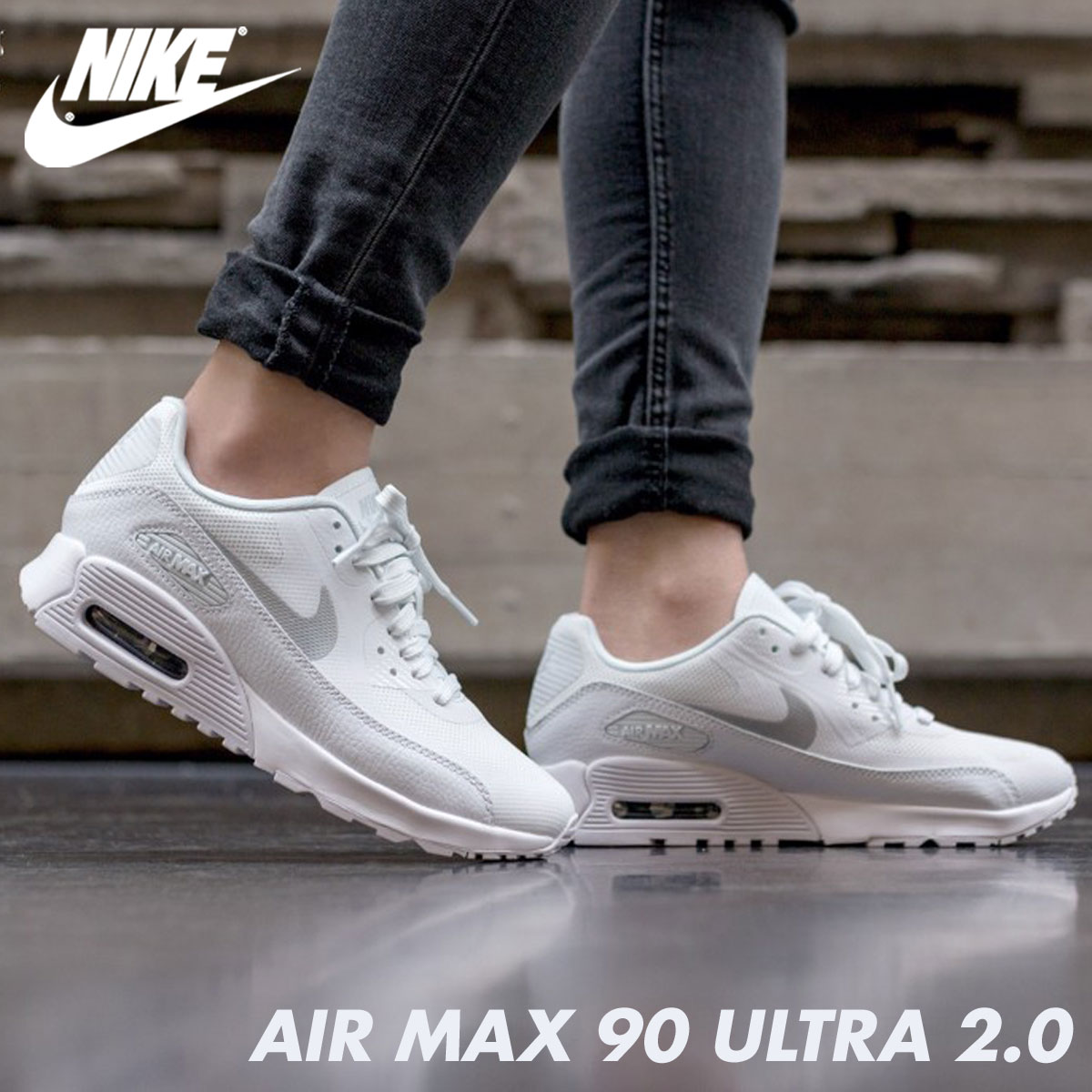 NIKE Kie Ney AMAX 90 ultra Lady's sneakers WMNS AIR MAX 90 ULTRA 2.0 881,106 101 shoes white