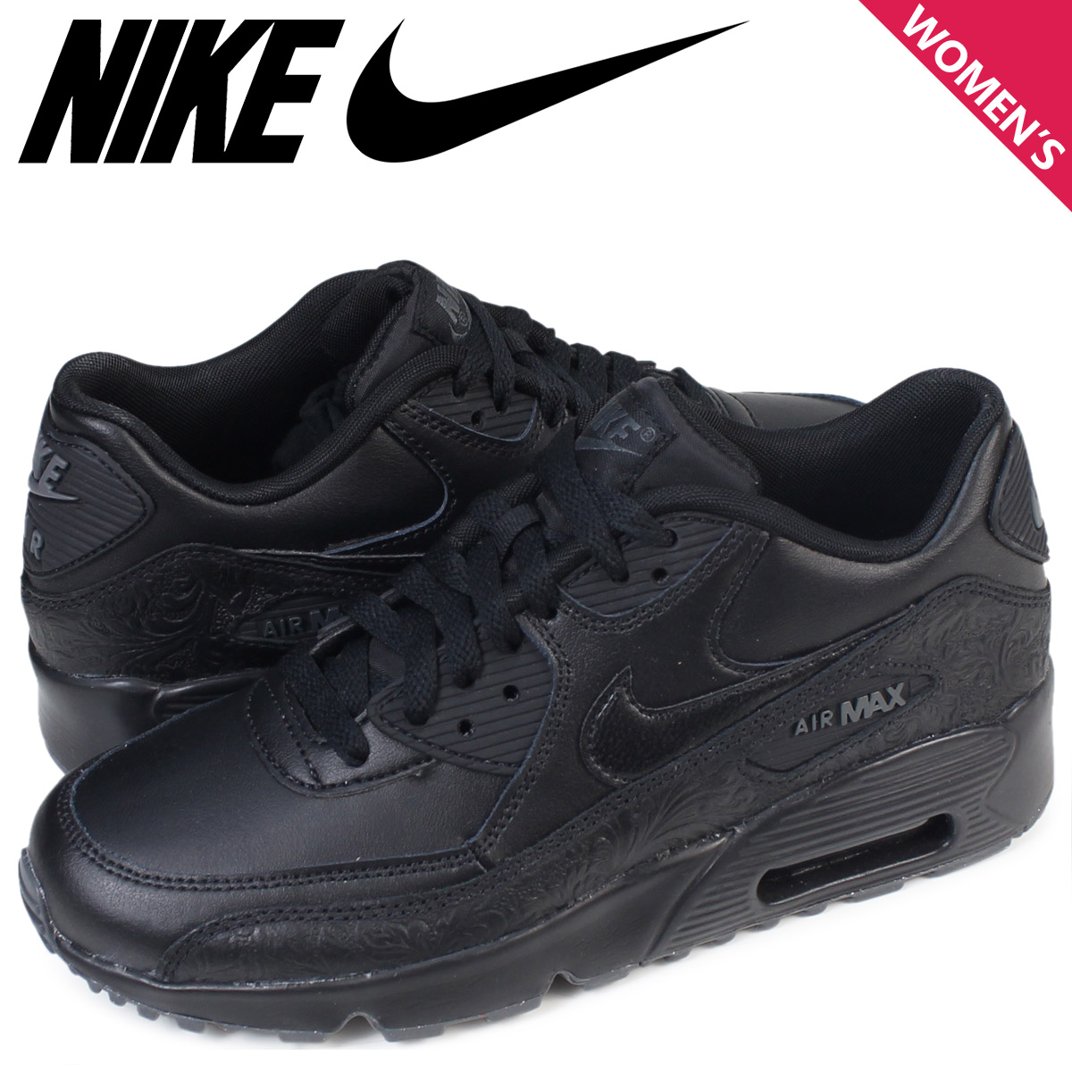 Nike NIKE Air Max 90 Lady's sneakers AIR MAX 90 LEATHER GS 833,412 001 black black [197]
