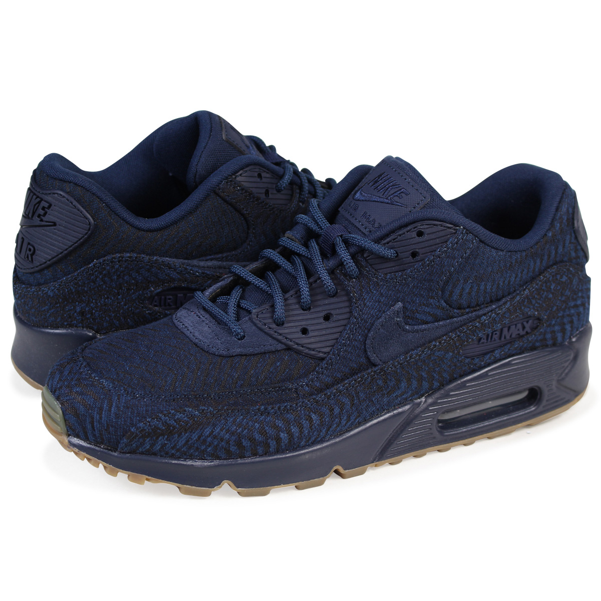 separation shoes 5bf5a a84a9 NIKE AIR MAX 90 PREMIUM JACQUARD Kie Ney AMAX 90 sneakers 918,358-400 men's  shoes navy [load planned Shinnyu load in reservation product 9/28 ...