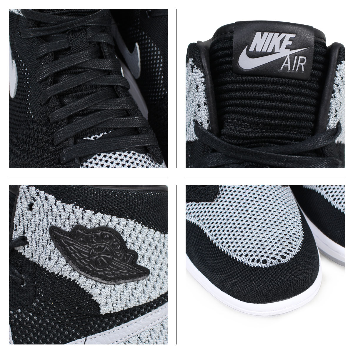 NIKE Nike Air Jordan 1 nostalgic fried food knit sneakers AIR JORDAN 1 RETRO HI FLYNIT 919,704 003 men's black [load planned Shinnyu load in