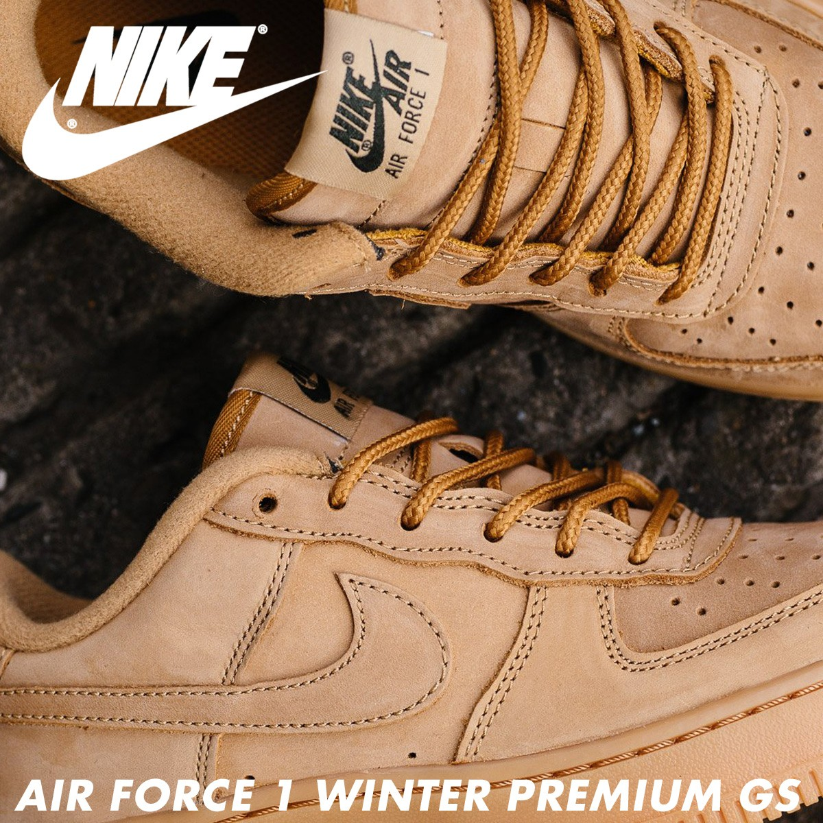 a631c455de50 NIKE AIR FORCE 1 LOW WINTER PREMIUM GS WHEAT Nike air force 1 lady s  sneakers 943
