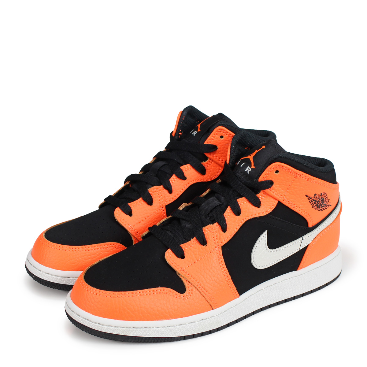 low priced f6af1 94c5b NIKE AIR JORDAN 1 MID GS Nike Air Jordan 1 Lady s sneakers 554,725-062  orange  load planned Shinnyu load in reservation product 10 15 containing    1810