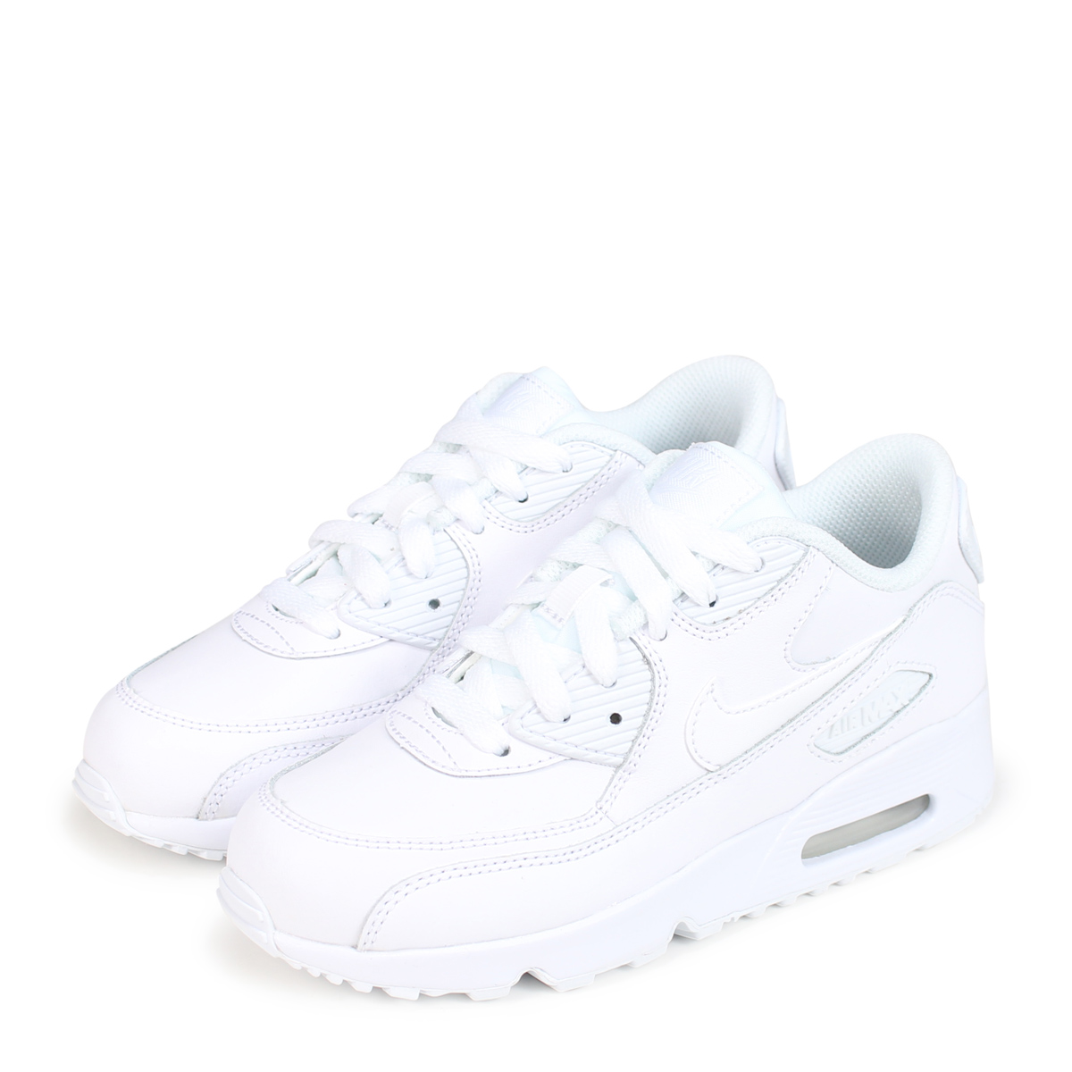 257c313ed7 Nike NIKE Air Max 90 kids sneakers AIR MAX 90 LEATHER PS 833,414-100 white  ...