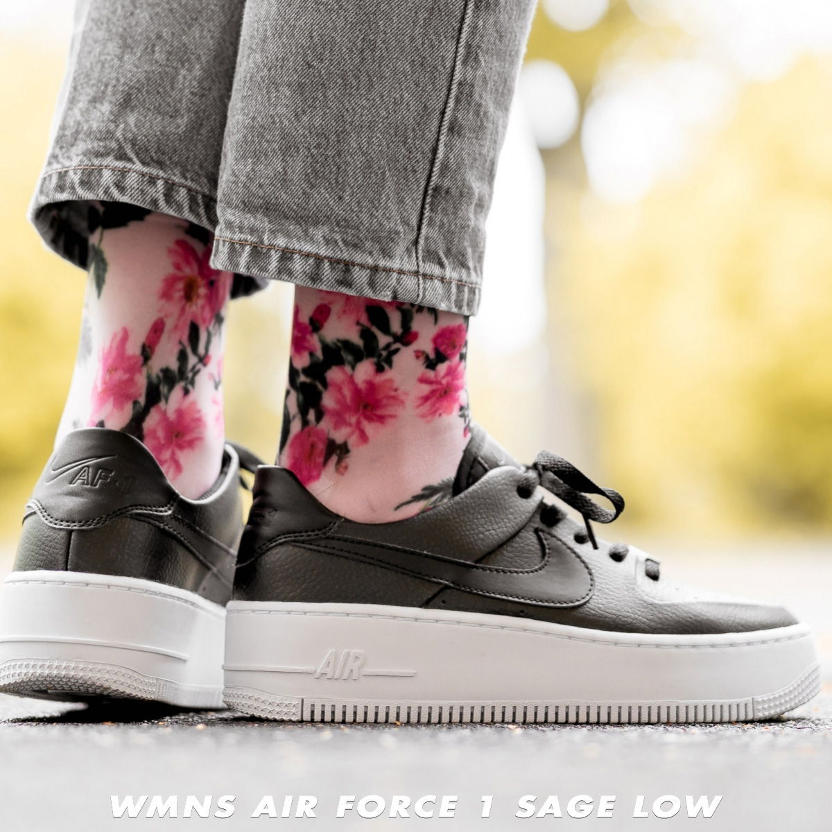 8c1ab430f59 Nike NIKE air force 1 sneakers Lady's WMNS AIR FORCE 1 SAGE LOW AF1 black  AR5339-002 [195]