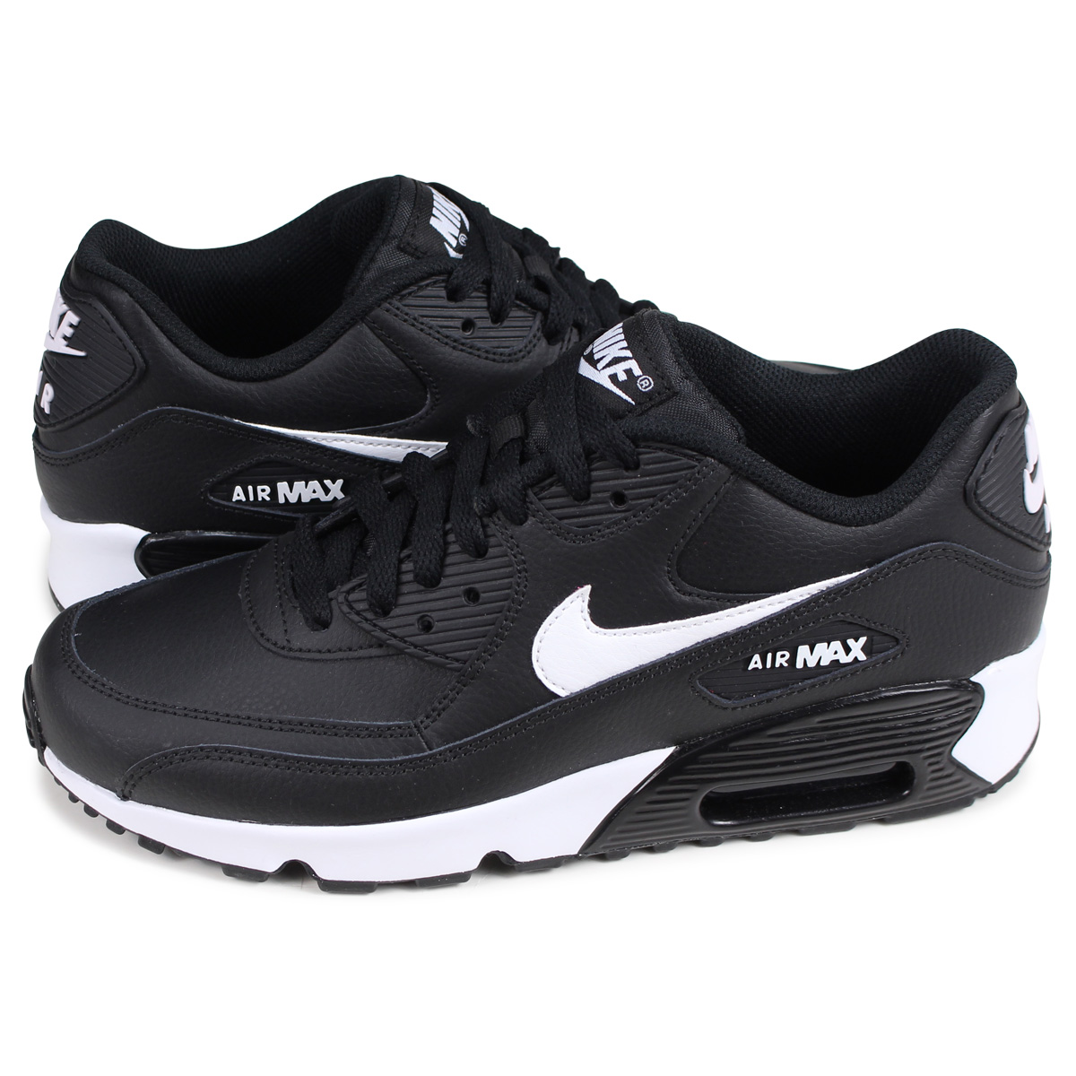Nike NIKE Air Max 90 sneakers Lady's AIR MAX 90 LEATHER GS black black 833,412 025