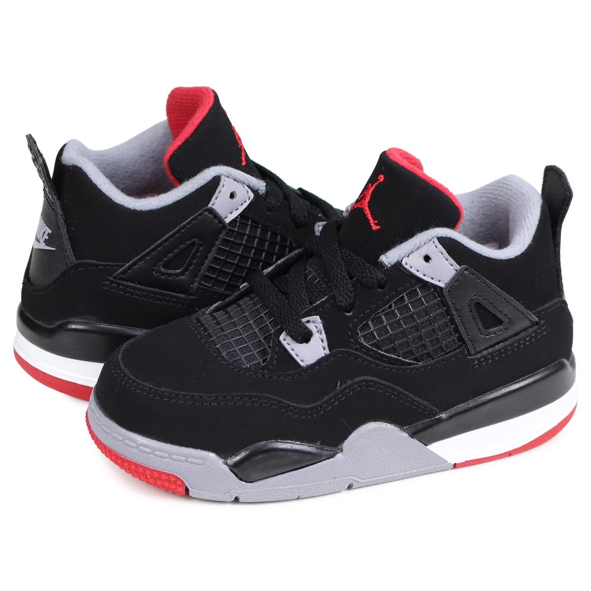 new arrival f7c04 7651e Nike NIKE Air Jordan 4 nostalgic sneakers kids baby AIR JORDAN 4 RETRO TD  BRED black black BQ7670-060 [195]