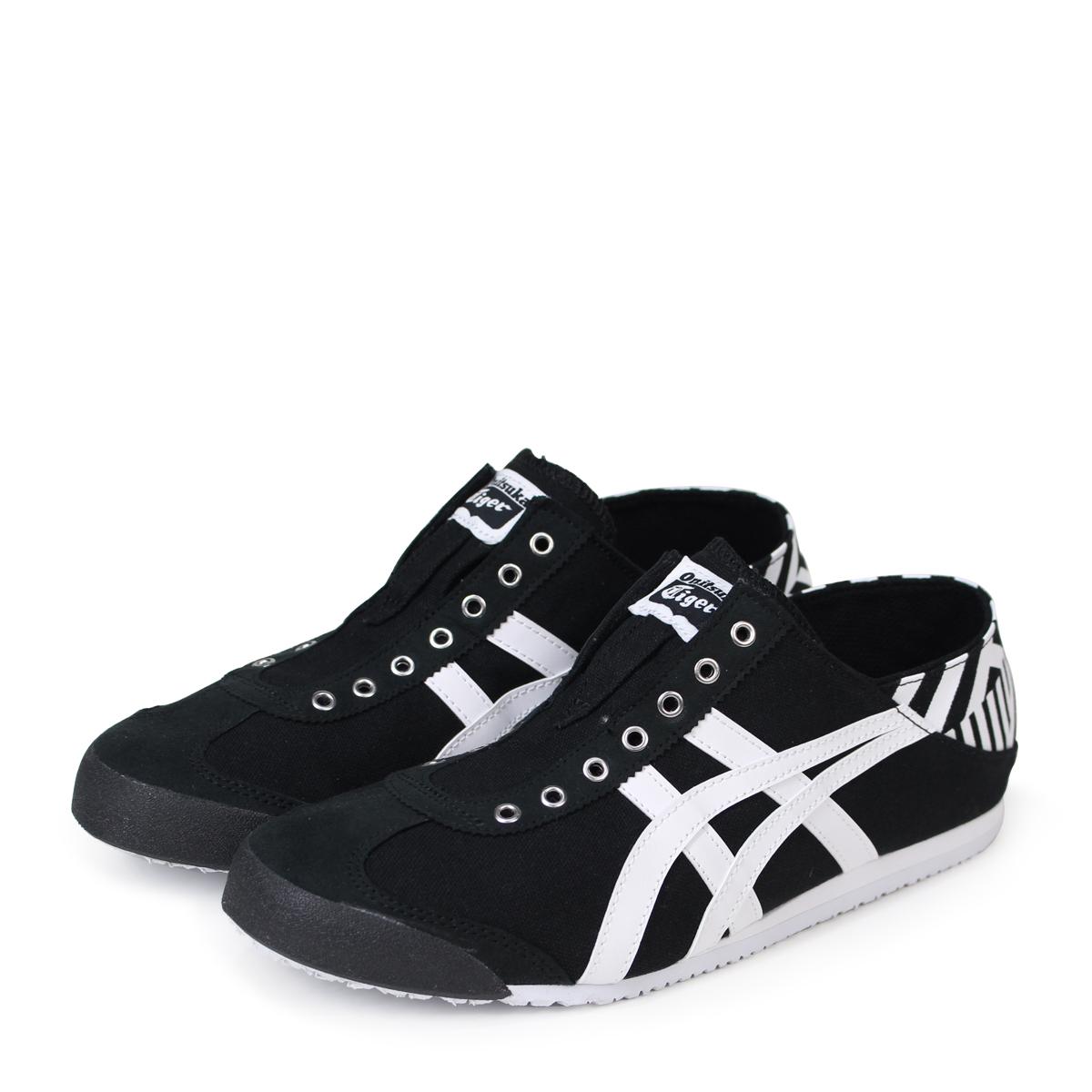 onitsuka tiger mexico 66 slip on black and white lan leather