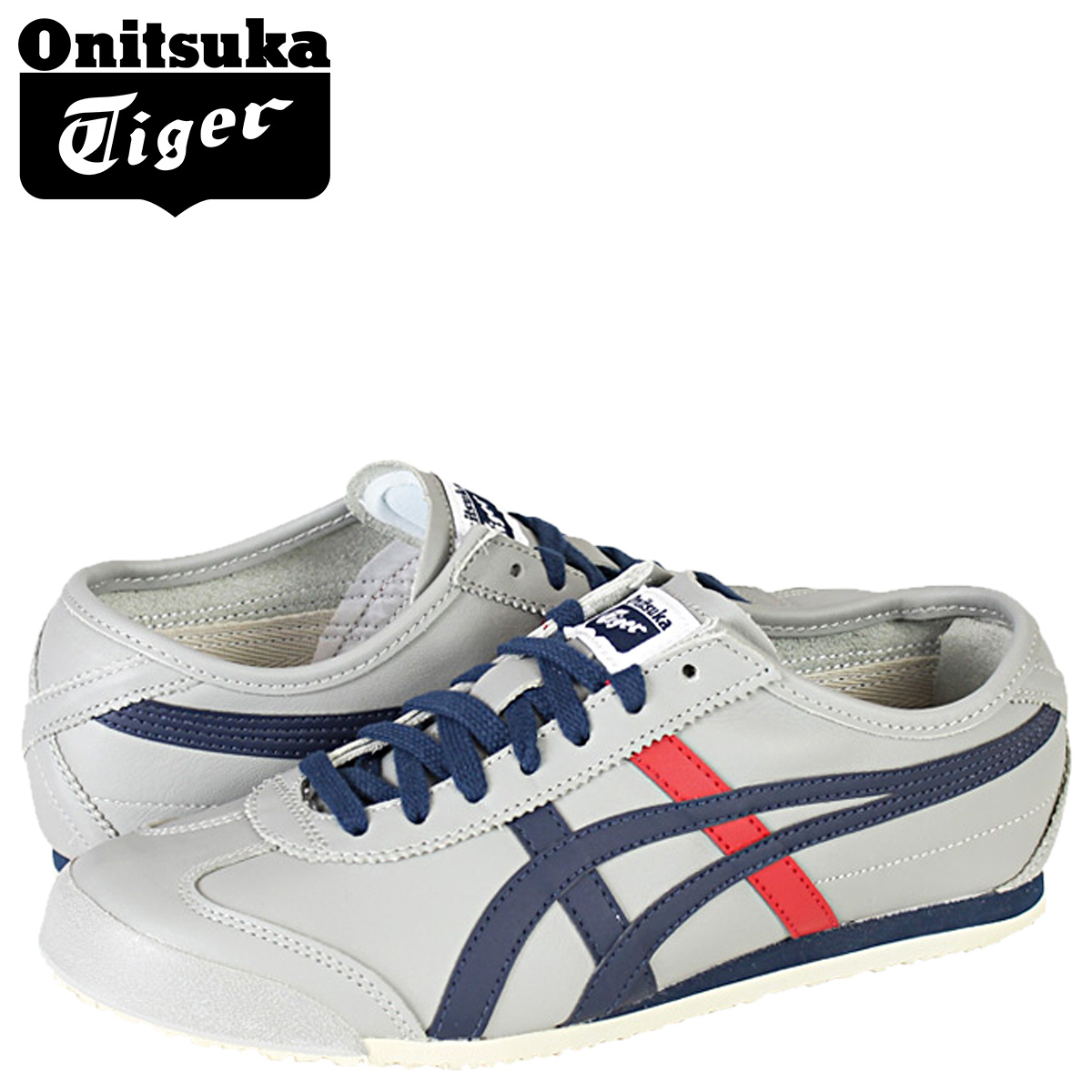 separation shoes 89b23 d8d96 Onitsuka Tiger ASICs Onitsuka Tiger asics MEXICO 66 sneaker Mexico 66  leather mens Womens TH4J 2L-1350 light grey / Navy unisex [2 / 14 new in  stock] ...