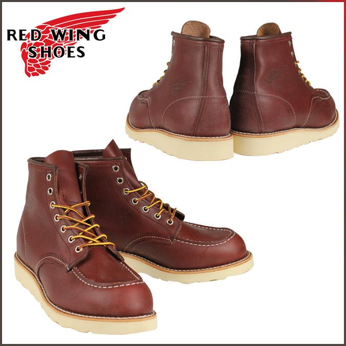 紅翼紅翼 6 英寸皮靴靴子 9106 8131 8875 6 英寸經典 Moc 腳趾 D 明智 オロラセットポーテージ 皮革男士美國紅翼製造