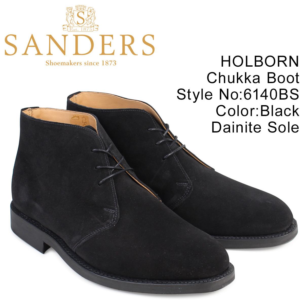 SANDERS HOLBORN サンダース 靴 ミリタリー チャッカブーツ ビジネス 6140BS メンズ ブラック