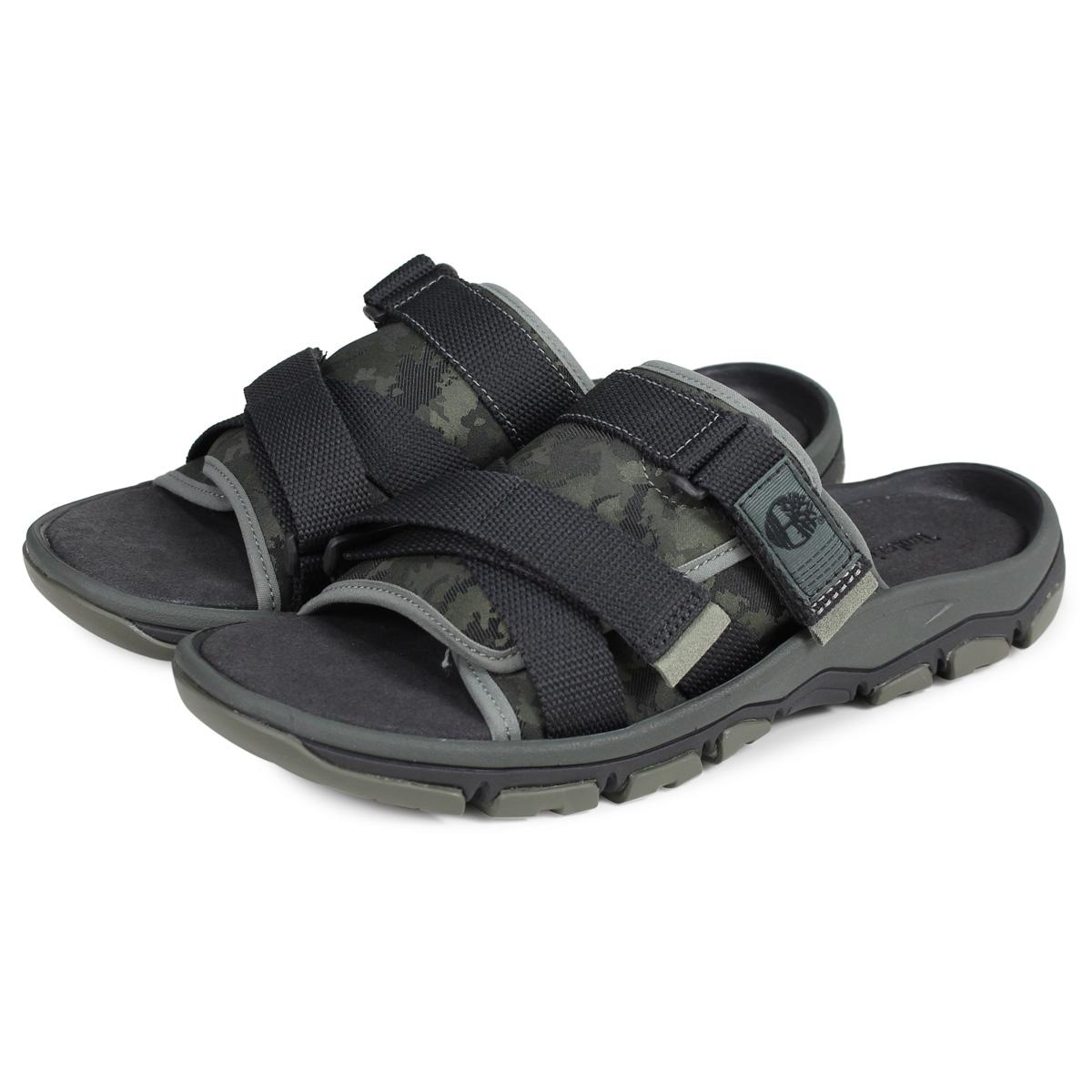 Timberland ROSLINDALE SLIDE Timberland sandals slide sandals men camouflage dark green A1ZSF [194]